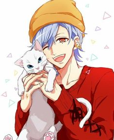 Short blue hair, redish eyes,white cat, animal, pet, smile,happy