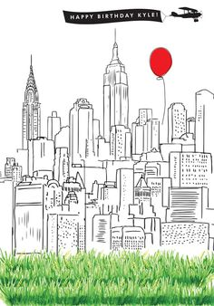 Items Similar To New York City Skyline Vinyl Photo Backdrop 5ft X 6ft Hand Illustrated Custom For Birthday Wedding Holiday Card Etc On Etsy