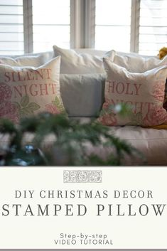 DIY Christmas Pillow Cover - Check out this no sew DIY pillow cover project using Iron Orchid Designs stamps. Make as easy DIY h - Diy Pillow Covers, Diy Pillows, Cushion Covers, Decorative Pillows, Cushions, Throw Pillows, Christmas Ornaments To Make, Christmas Diy, Christmas Cover