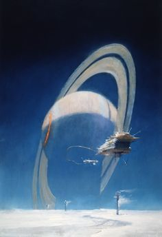 7) After the four month journey the crew emerge from cold sleep and begin their scans. Well into the survey one of the moons spits back an abnormal dowser return. Long range visuals prove inconclusive so the prospecting ship enters orbit.