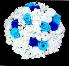 Buchet cu flori de săpun și flori de bumbac Cake, Desserts, Tailgate Desserts, Deserts, Kuchen, Postres, Dessert, Torte, Cookies