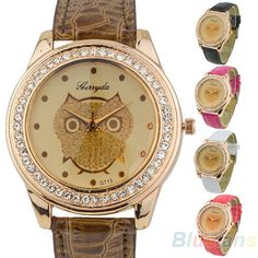 Hot Selling Fashion Womens Analog Owl Crystals Quartz Wristwatch Champagne B44U