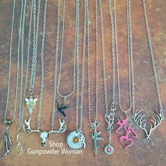 Hunting, Gun, and Bullet Necklaces from Gunpowder Woman  www.etsy.com/shop/gunpowderwoman Country country girl gunpowderwoman farm girl camo realtree mossy oak guns bullet jewelry bullet belly ring fishing jewelry archery browning redneck rebel flag southern firearms Miranda lambert