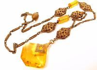 Vintage c1920-30 Art Deco Brass Filigree Topaz Glass Crystal Czech Necklace*Y343