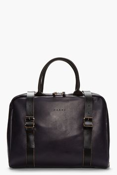 MARNI Dark purple Buffed leather laptop bag