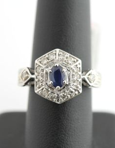 14K White Gold 1/2 Carat Diamond & 1/2 CT Sapphire Cluster Ring Vintage