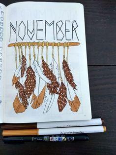 Bullet Journal November Cover Page, Bullet Journal Monthly Spread, Bullet Journal Cover Ideas, Bullet Journal Layout, Journal Covers, Bullet Journal Inspiration, Journal Pages, Bullet Journals, Bullet Bullet