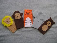 Zoo Animal Finger Puppets  FREE SHIPPING US by Tuscanycreative, $18.00