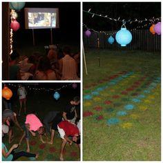 Outdoor movie party so cute!