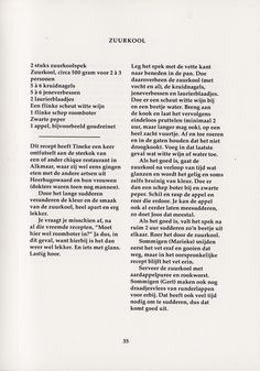 A page from the cooking book Tineke's Kookboek. Graphic design: Studio Hudson. #book #bookdesign #print #printdesign #design #graphicdesign #layout #type #typography #palatino #cooking #cookbook #food #recipe #zuurkool #studiohudson