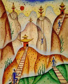 Paisaje (Cingo Pagodas) 1949 : Xul Solar Spanish Art, Group Art, Art Brut, Art Boards, Sculpture Art, Painting & Drawing, Storytelling, Art For Kids, Abstract Art