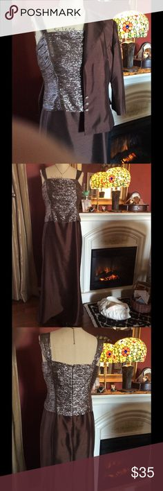 Elegant Formal Dress w/Jacket Worn once for my son's wedding. So elegant with and without the jacket.  Very slenderizing! Karen Miller Dresses Prom