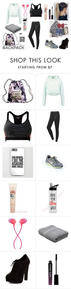 """set to exercise"" by asoles2011 ❤ liked on Polyvore featuring Ivy Park, MANGO, NIKE, The House of Marley, M&Co, New Look, NYX, backpack and inmybackpack"