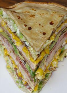 Receta de Torta de Panqueques Fría con Palta, Lechuga, Tomate, Choclo y Jamón de…