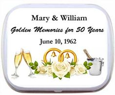 50th wedding anniversary mint tin favors with roses - personalize these mint tins with 3 lines of text.