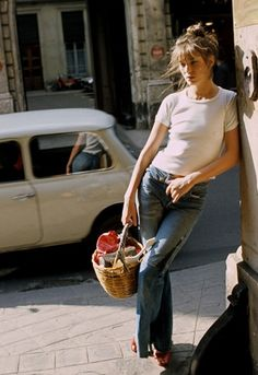 jane birkin in a white t-shirt in 1974