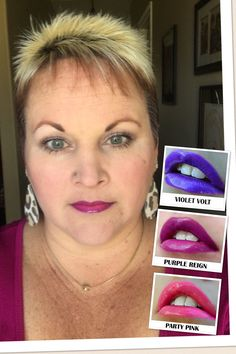 Violet Volt lined lips, then Purple Reign and finished with Party Pink. Orchid Gloss finished the look. https://www.facebook.com/groups/carriescarefreekisses/