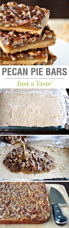 Pecan Pie Bars recipePecan Pie Bars recipejustataste A quick and easy Thanksgiving dessert!