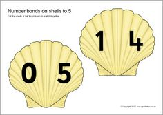 Create an activity where children match together the sea shell halves to make number bonds to Print out, laminate and cut the shells in half. Number Bonds To 10, Teaching Resources, Teaching Ideas, Ten Frames, Numbers, Division, Activities, Numeracy, Crafts