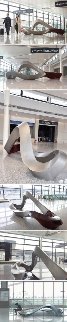 Sea Cloud is a literal twist on pubic seating! It's the latest artistic addition to the Shanghai Hongqiao International Airport. An abstraction of a birds-eye view of the sea as we fly over it, the form is composed of several twisted surfaces. Surprising yet playfully inviting, it's at once a place for passersby to sit or lean for a bit of rest and a sculptural accent for travelers to admire.