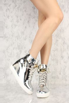 Silver Metallic Front Lace Up Sneaker Wedges Patent Faux Leather