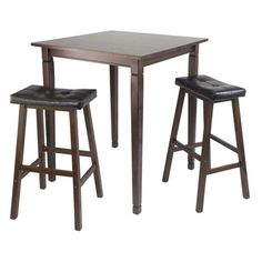 Great 3 Piece Kingsgate High/Pub Dining Table With Cushioned Saddle Stool Photo Gallery