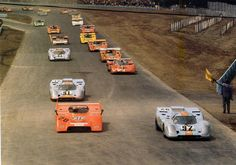 Watkins Glen, 1971: Porsche 917/10 of Jo Siffert (20) finished third, two laps behind winner Peter Revson and Denny Hulme, each in McLaren M8F. Others pictured: Gils van Lennep in Porsche 917 (No. 92, finished 9th), Richard Attwood (97, 13th), Sam Posey NART Ferrari 512 (14, 6th), Derek Bell (93, 11th), Tony Adamowicz (54, McLaren, 5th), Andrea de Adamich (30, Alfa T33, 7th), Bob Bondurant (12, McLaren, 16th), Vic Elford (29, McLaren, 8th). Jackie Stewart took pole in Lola T260, but DNF.
