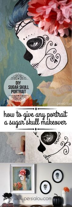 DIY Sugar Skull Portrait - give any portrait painting in your home a temporary sugar skull makeover just for Halloween!