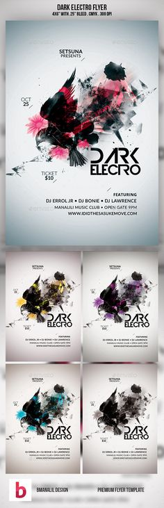Electro Flyer\/Poster Vol1 Electro music, Font logo and Fonts - electro flyer