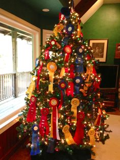 Using horse show ribbons to decorate a Christmas tree