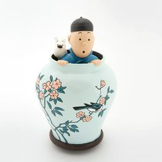 Tintin and Snowy inside Jar - Tintin