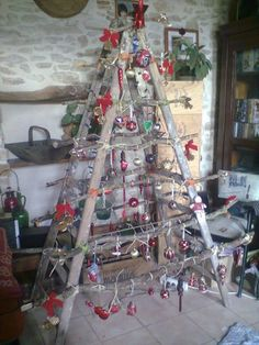 """Recycled ladder-Cute Christmas Tree!! {Have YOU downloaded your FREE Sweater-izer app yet? You can even """"Sweater-ize For A Cause"""" Link to AppStore to learn more & download: https://itunes.apple.com/us/app/sweater-izer/id578251544?mt=8"""