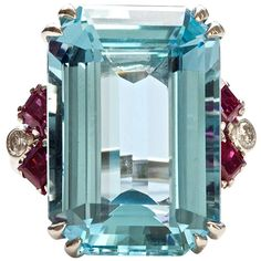 Aquamarine Ruby Diamond Ring   From a unique collection of vintage fashion rings at http://www.1stdibs.com/jewelry/rings/fashion-rings/