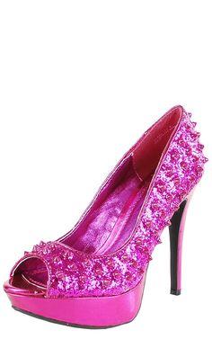 Viral71 Glitter Spike Peep Toe Pumps