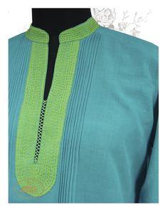 Pinstripe kurta with dual tone detailing in #Khadi by Radha's Daughters at #Kilol Store.