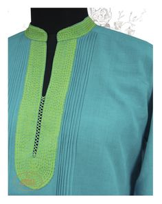 Pinstripe kurta with dual tone detailing in by Radha's Daughters at… Salwar Neck Designs, Kurta Neck Design, Neckline Designs, Dress Neck Designs, Kurta Designs Women, Blouse Designs, Salwar Pattern, Kurta Patterns, Dress Patterns