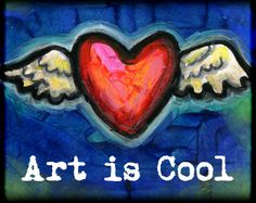 Art is Cool  8x10 Winged Heart Print  by BlueLucyStudios on Etsy
