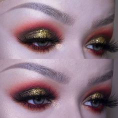 Too soon for festive eyes?  watched @jamescharles on youtube today and got inspired  @juviasplace Zulu Palette (orange) @sugarpill Shadow in 'Love+) (red) @katvondbeauty Saint & Sinner Palette shade 'Immaculate' (khaki green) and Metal Crush shadow in 'Thrashes' (green gold) @nyxcosmetics Loose Glitter in 'Gold' @glitterpalaceuk Gold Glitter @rouge.and.rogue Luminara Lashes - - - #bold#makeup#katvondbeauty#kvd #glitter#nyxcosmetics#sugarpill #rougeandrogue#lashes#eyebrows#rede...