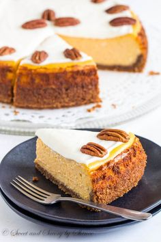 Carrot Cheesecake - Scrumptiously creamy and rich, this carrot cheesecake is baked on nutty crust and frosted with tangy sweet frosting.
