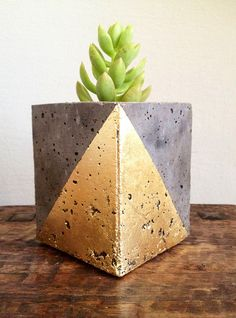 Mod concrete planter geometric gold leaf by veryfinesouth on Etsy