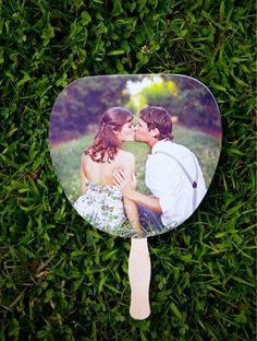 wedding fan - picture on one side