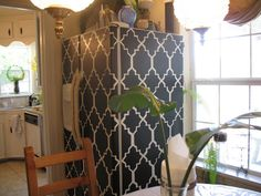 Fun way to cover up something, with contact paper! Maybe just the sides of the refrigerator or inside of a bookshelf?