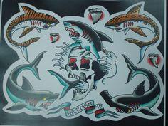 More shark ideas for the American Traditional Sleeve Hai Tattoos, Body Art Tattoos, Sleeve Tattoos, Traditional Shark Tattoo, Traditional Tattoo Design, American Style Tattoo, American Tattoos, Sailor Jerry, New School Tattoo Design