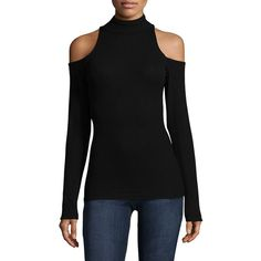 Joe's Collection Olivia Cold-Shoulder Sweater ($45) ❤ liked on Polyvore featuring tops, sweaters, ribbed sweater, cold shoulder sweater, cut out shoulder top, cold shoulder tops and ribbed cold shoulder sweater