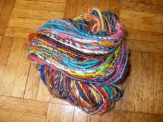 Handspun Art Yarn In Multicolours by QuiltingDemon on Etsy, Yarn Inspiration, Art Yarn, Fantastic Art, Silk Thread, Knit Or Crochet, Pure Products, Wool, Knitting, Spinning