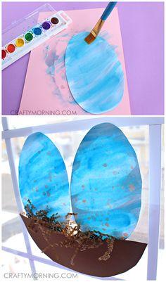 Speckled Watercolor Blue Robins Egg Suncatchers (Spring craft for kids to make!) | CraftyMorning.com