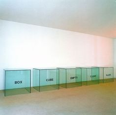 """Joseph Kosuth. Box, Cube, Empty, Clear, Glass, 1965.A Description: 5 glass cubes with black lettering, each 40 x 40 x 40"""". Collection of the Hirshhorn Museum and Sculpture Garden, Smithsonian Institution, Washington, DC. Photo © Giorgio Colombo, Milano"""
