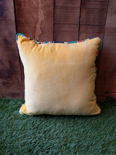 Buttercup Yellow Velvet Cushion piped all around with ANY of our beautiful striped fabrics. Velvet Cushions, Cotton Velvet, Striped Fabrics, Buttercup, Stripes, Throw Pillows, Yellow, Stuff To Buy, Beautiful