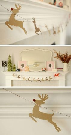 DIY Santa & Reindeer Garland & Click Pic for 22 DIY Christmas Decor Ideas on a Budget & Last Minute Christmas Decorating Ideas for the Home Diy Christmas Garland, Christmas Decorations For The Home, Noel Christmas, Christmas Projects, Winter Christmas, Holiday Crafts, Holiday Fun, Xmas, Simple Christmas