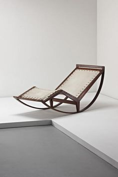 Franco Albini; # PS13 Walnut, Fabric and Rope Rocking Chaise Longue, 1956.